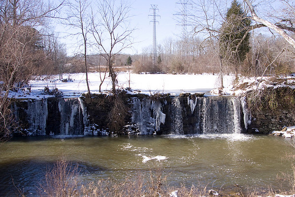 Company Mill Waterfall decorated by Snow. Andy Griffin Photography.